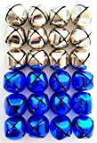Jingle Bells 1 1/4 inch (24 Piece Pack, Silver & Blue)