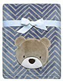 Baby Starters Printed Soft Plush Blanket with Bear Applique and Embroidery, Blue/Brown