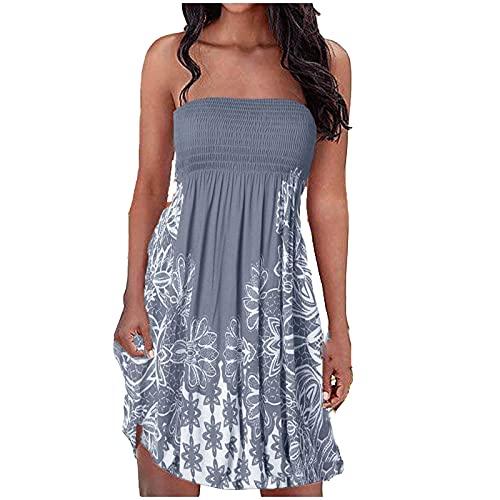 pamkyaemi Wikkeljurken dames zomerjurk korte jurken sexy bandeau jurk mouwloos midi jurken elegante bandeau strandjurken…