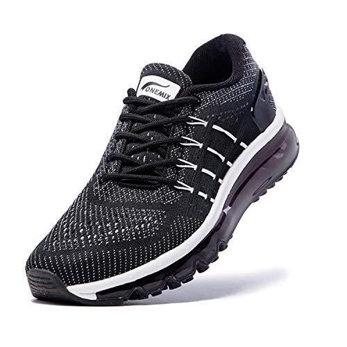 ONEMIX Scarpe da Trail Running Uomo, Leggera Moda Scarpe da Corsa su Strada Interior Casual all'Aperto 1155 Black White 44