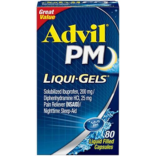 Advil PM Liqui-Gels (80 Count) Pain Reliever/Nighttime Sleep Aid Liquid Filled Capsules, 200mg Ibuprofen, 25mg Diphenhydramine