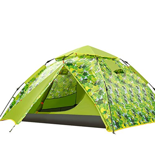 ZHJ Outdoor 3-4 Person Double-layer Tent Automatic Field Camping Tent Quick Opening Tent Supplies Frame Tents
