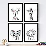Nacnic Set de 4 láminas de Animales Infantiles con Flores Y Gafas,en tamaño A4, Poster Papel 250 gr....