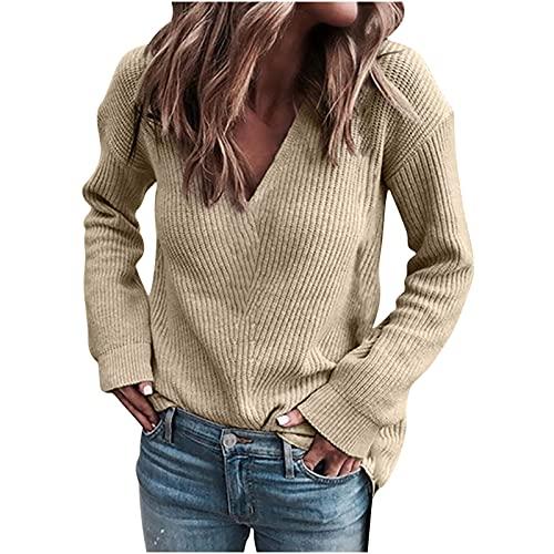 Wave166 Jersey sexy de manga larga para mujer, cuello en V, corte ajustado, jersey de punto fino, para otoo, clido, para el tiempo libre, moderno, monocolor, caqui, M