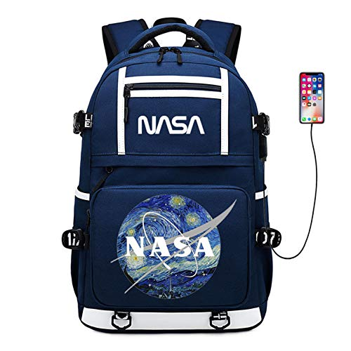 FURUN NASA Unisex Zaini Casual Leisure Student Schoolbag con Ricarica USB Borsa Casual