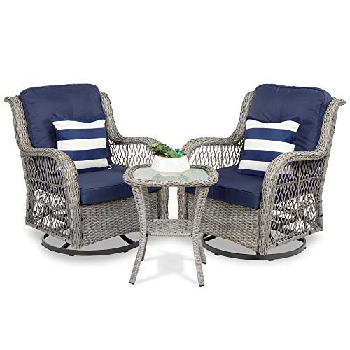 Best Choice Products 3-Piece Outdoor Wicker Patio Bistro Set w/ 2 360-Degree Swivel Rocking Chairs and Tempered Glass Top Side Table - Navy