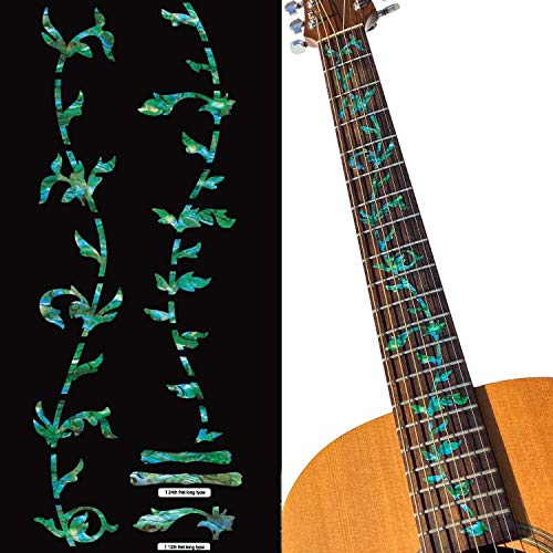 Inlay Sticker Griffbrett Position Marker für Gitarren - Tree of Life - Abalone Grün