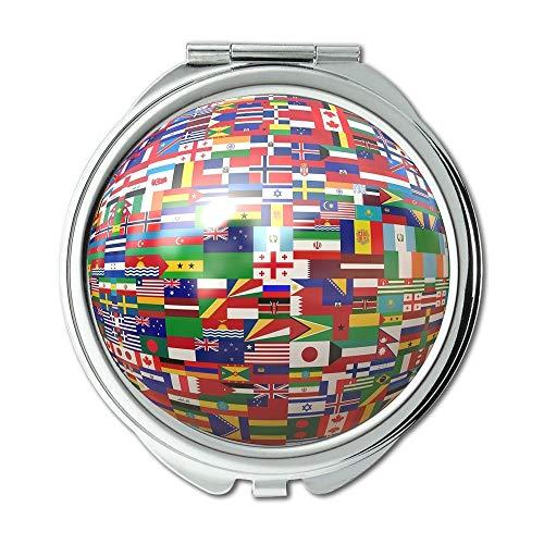 Yanteng Spiegel, Erde Rund Make-up-Spiegel, Atlas Earth Flags Flag Globale Globalisierung Globus Schminkspiegel, Taschenspiegel, Tragbare Spiegel