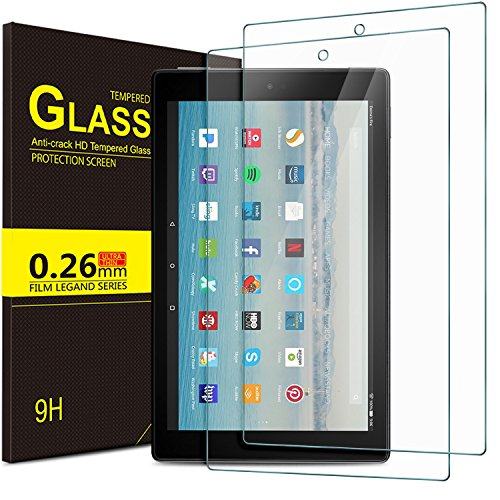 ELTD Panzerglas Schutzfolie für Das Neue Amazon Fire HD 10,Ro&ed Corners 2.5D, 9H Festigkeit, gehärtetes Glas Bildschirm Schutzfolie für Fire HD 10,1 Zoll (9. Gen 2019 und 7. Gen 2017 Model) (2 Stück)