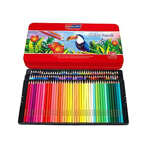 色鉛筆 120色 油性鉛筆 アート色鉛筆セット メタルケース - Roleness - カラーペン 塗り絵 美術 描き用 スケッチ用 プレゼント 鉛筆削り付き