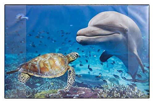 Idena 14017 - Schreibunterlage aus Kunststoff mit zwei Einstecktaschen, Delfin, ca. 68 x 44 cm, für Kinder und Tierliebhaber, Zubehör für Büro, Kinder- und Arbeitszimmer, abwaschbar