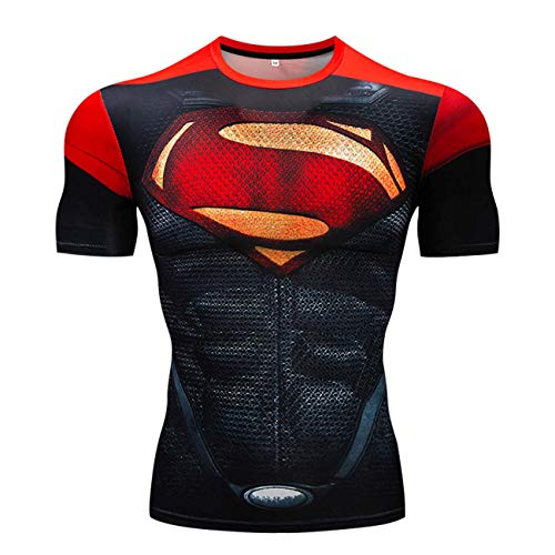 Men's Super-Hero Series Compression Sports Fitness Shirt Quick-Drying Running Tee Super logo-short-CY005-XL
