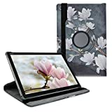 kwmobile Schutzhülle kompatibel mit Huawei Mediapad M5 Lite 10 - Hülle 360° - Tablet Cover Hülle - Magnolien Taupe Weiß Dunkelgrau