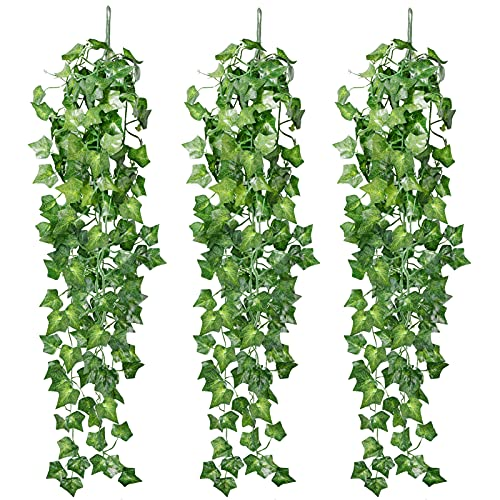 Omldggr Künstliche Hängepflanzen, Efeuranke, 2,95 m, für drinnen und draußen, Heim, Garten, Büro, Hochzeitsdekoration, 3 Stück