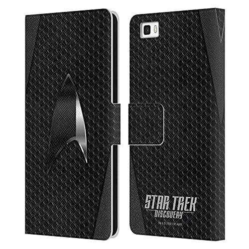 Head Case Designs sous Licence Officielle Star Trek Discovery Noir Insignes Coque en Cuir à Portefeuille Compatible avec Huawei P8lite / ALE-L21