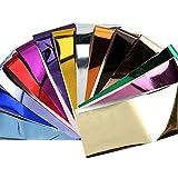 14 fogli adesivi per unghie trasferibili tinta unita metallizzati per lamine di chiodi per donne