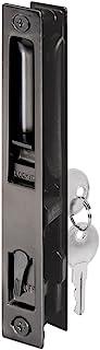 Prime-Line C 1033 Sliding Glass Door Handle Set, 6-5/8 in, Diecast, Black, Hook Style, Flush Mount, Keyed, Non-Handed