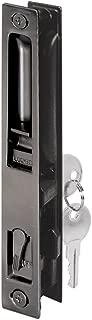 Prime-Line C 1033 Sliding Glass Door Handle Set, 6-5/8 in., Diecast, Black, Hook Style, Flush Mount, Keyed, Non-Handed