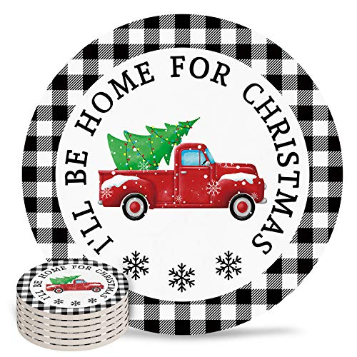 4' Ceramic Drink Coasters Set of 6 Absorbent Coaster with Cork Base Cups Mug Place Mats for Kitchen Bar Home Decor, Christmas Tree on Truck I'll Be Home for Christmas Black White Checkered