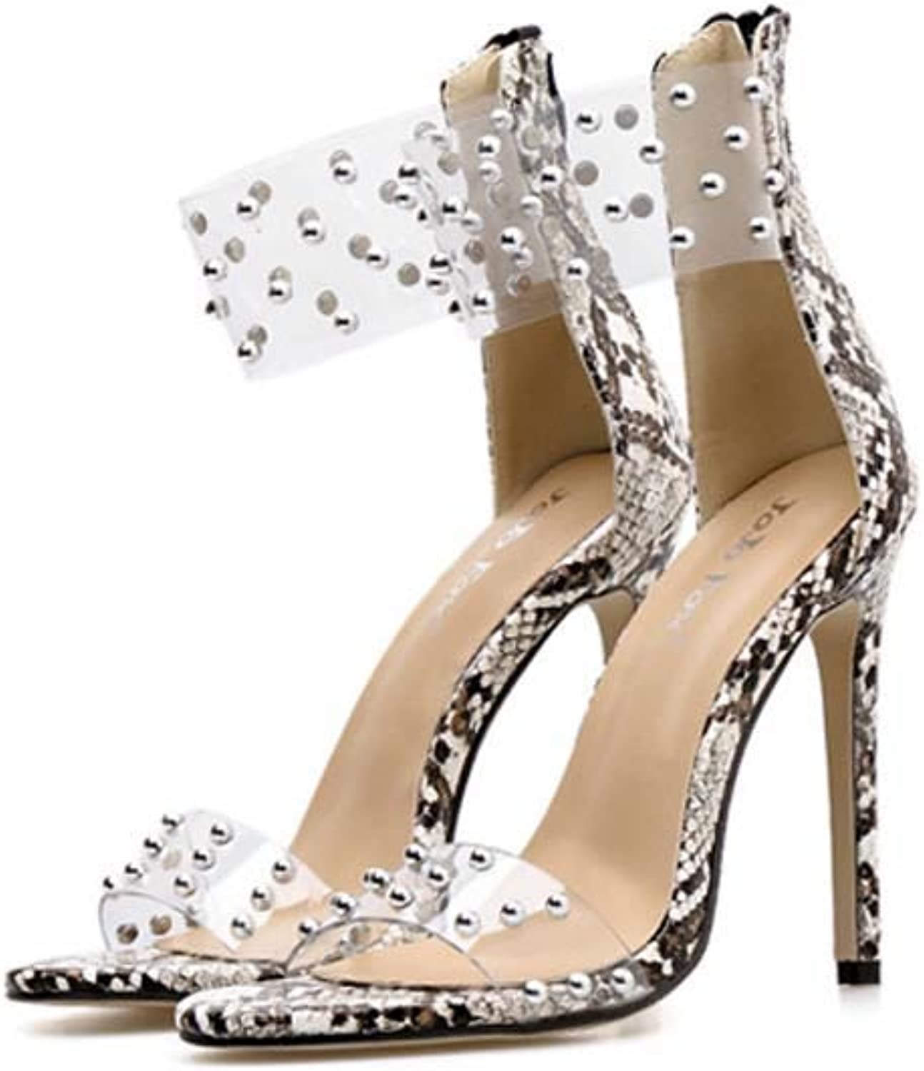 Women's Ankle Strap Shiny Sandals,Clear Sexy Open Toe Summer shoes Strappy High Chunky Heels with Rivets PVC high Heels