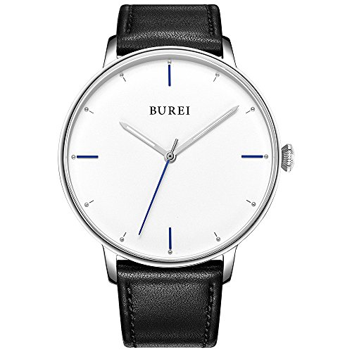 BUREI Unisex Watch ultra sottile miniMalista orologi con quadrante bianco data Calendar vetro minerale cinturino in pelle