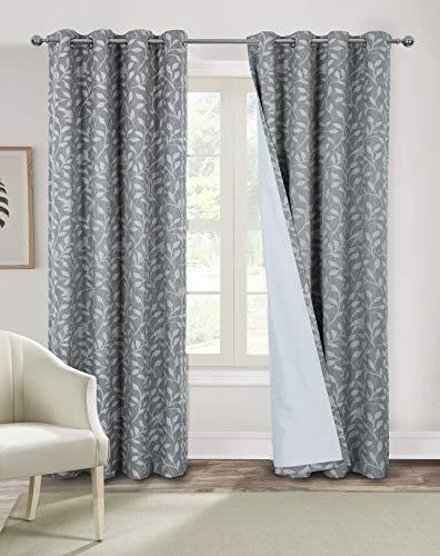 Always4u - Cortinas y drapeadas 100% opacas con ojales, curtain térmico, aislante, salón, moderno, cocina, habitación infantil, 140 x 260 cm, color gris