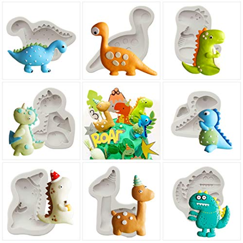 YAWOOYA Dinosaur Silicone Molds - 8 Pack Dino Baby Shower Fondant Mould for Baking Cake Decoration/Resin/Cupacke Toppers/Chocolate/Candy/Polymer Clay