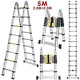 5M (2,5M + 2,5M) Échelle Télescopique Portable et Pliante Echelle Escamotable...
