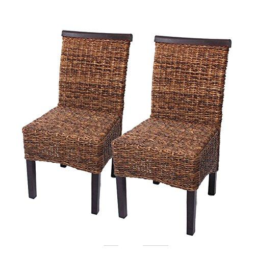 Mendler 2X Esszimmerstuhl Korbstuhl M45 Stuhl Bananengeflecht ~ dunkel, ohne Kissen