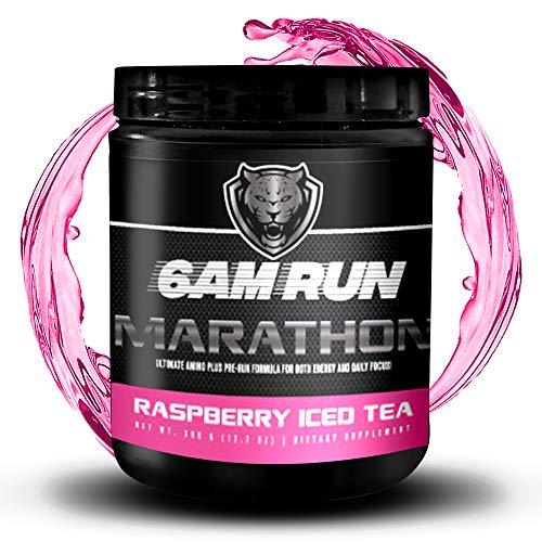 6AM RUN Marathon Run - Pre Workout Powder for Running & Essential Amino Energy Powder - Pre Workout No Jitters - Keto Pre Workout Powder - Vegan Pre Workout Powder - Raspberry Iced Tea - 40 Scoops
