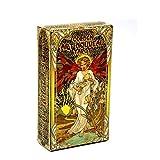 WANGP Jeu De Tarot Art Nouveau Doré, 78 Cartes avec des Cartes De Guide Ensembles De Livres De Divination Occulte pour Les DéButants Style Art Nouveau Classique