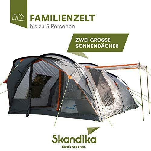 skandika Egersund 5 Personen Tunnelzelt Camping Zelt mit 5000 mm Wassersäule, eingenähter Zeltboden, Moskitonetze, 2 überdachte Eingänge, Haken für Zeltlampe, Kabeleinlass, Organizertaschen