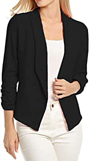 Dubocu Women's 3/4 Sleeve Blazer Open Front Short Cardigan Suit Jacket rk Office Coat