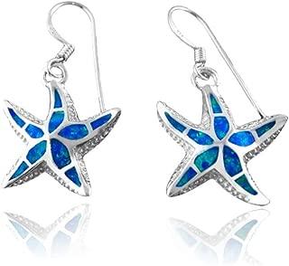 925 Sterling Silver Hawaiian Blue Inlay Mosaic Opal Starfish 3D Dangle Earrings Set
