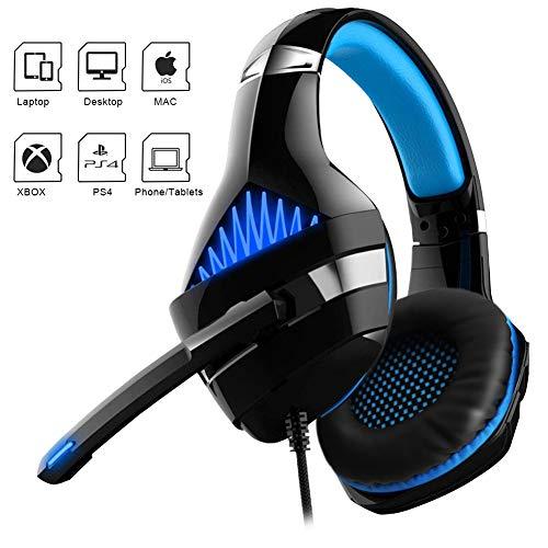 Dreamerd Gaming Headset Kopfhörer für PS4, PC, Xbox One Controller, Komfort-Rauschunterdrückung, LED Licht Crystal Clarity Sound, Professioneller Kopfhörer mit Mikrofon