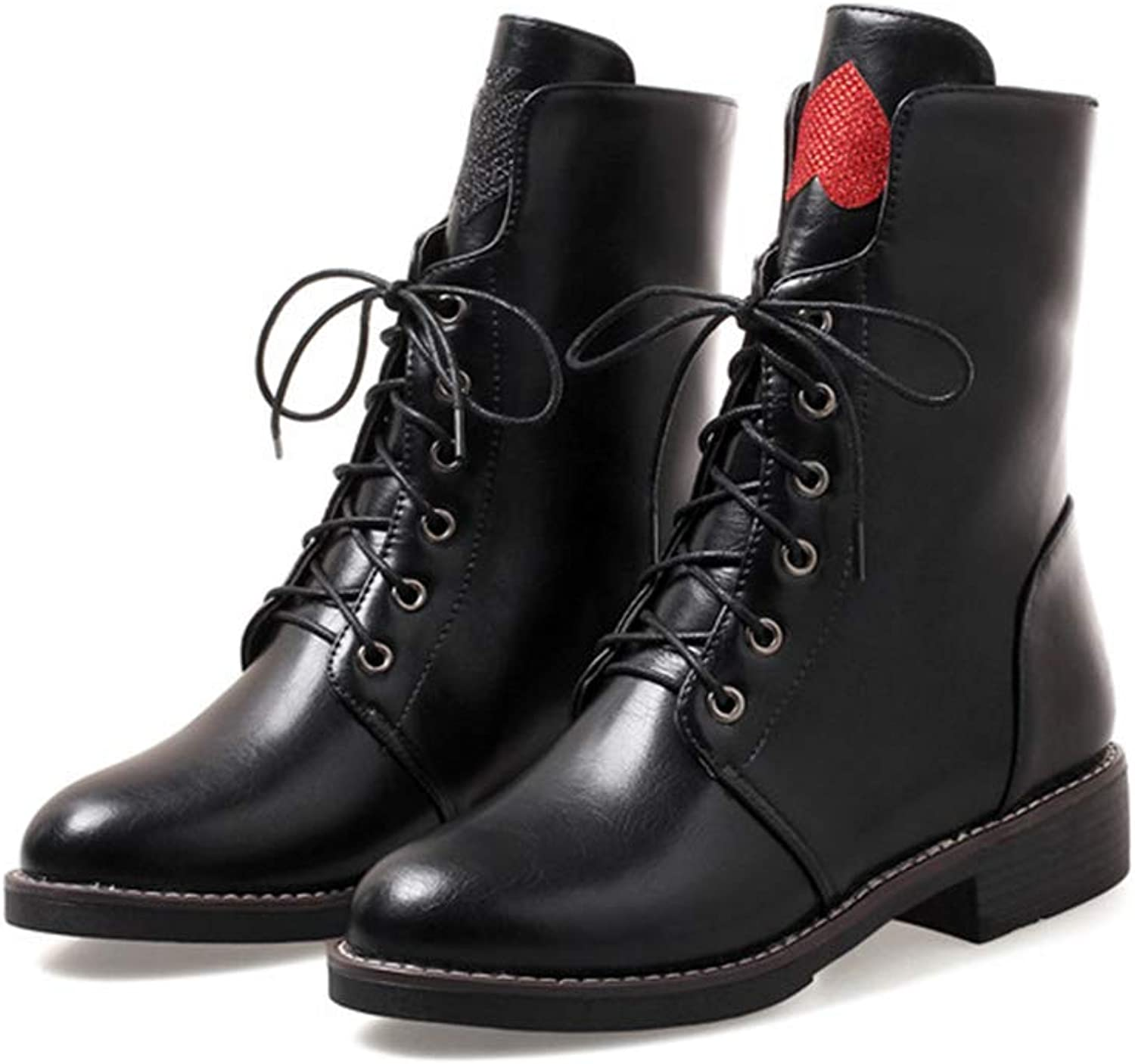 T-JULY Ankle Boots Winter shoes for Women Lace Up Short Boots Square Heel Autumn Fashion Ladies Boots Black