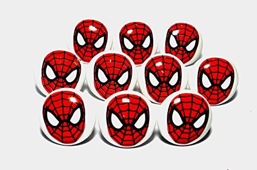 Kaizen Casa Ensemble de 10 Boutons de Meubles en céramique Super-héros Spider Man Boutons poignées tiroir Armoire Tire armoires de Cuisine Bureau pépinière