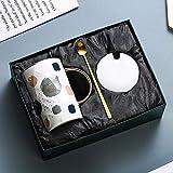 Encantadora pareja de lujo del estilo de la taza de café del té británico con mango de una cuchara de oro, regalo de San Valentín 15 oz (Color : Sweet)