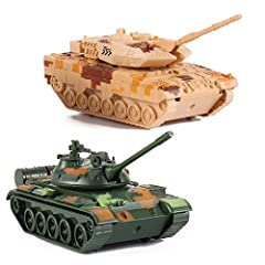 "Set of 2 Deluxe Full Diecast Metal Army Tanks Features Pullback Friction Action 360 Degree Gun Turret Rotation Realistic Firing Sounds and Lights Each Measures 7"" Length x 3"" Width"