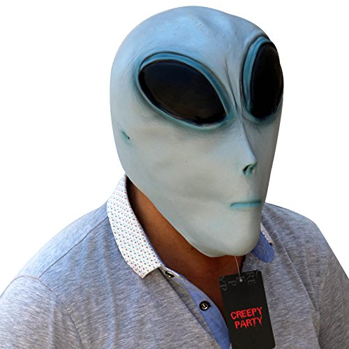 CreepyParty Deluxe Novelty Latex Halloween Mask Full Head Mask Alien