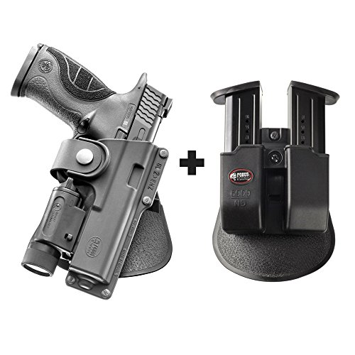 Fobus EM19 LS Paddle Tactical Holster Ruger American Pistol 9mm + 6909 ND Double Magazine Pouch