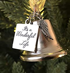 Image: It's a Wonderful Life Inspired Christmas Angel Bell Ornament with Stainless Steel Angel Wing Charm