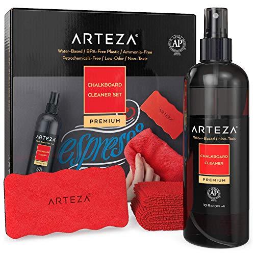 Arteza Kreidetafel-Reinigungsset, 296 ml Reinigungsspray, 1 Mikrofasertuch, 1 magnetischer Tafelschwamm, für Kreidetafeln, Tafeln & Glasoberflächen