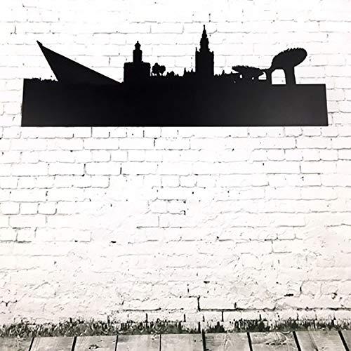 Skyline de Sevilla en Pizarra Negra. Etiqueta de Madera rígida 3 mm para Pared. Superficie Apta para Escritura con tizas y rotuladores Efecto Tiza. 90 x 24 cm