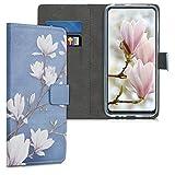 kwmobile Wallet Hülle kompatibel mit Huawei P Smart Z - Hülle Kunstleder mit Kartenfächern Stand Magnolien Taupe Weiß Blaugrau