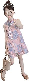 【ごはん】夏服 子供服 中国風 ワンピースキッズ 女の子 花柄サスペンダーワンピース aラインノースリーブドレス チーパオ チュールスカートお姫様 結婚式 パーティー