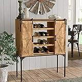 American Art Décor Rustic Wood Wine Rack Barn Door Glassware Cabinet