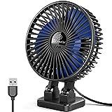 JZCreater USB Desk Fan, 3 Speeds Desktop Table Cooling Fan in Single Button , Head Rotation Strong Wind, Quiet Mini USB Personal Fan for Home Desktop Office Table,Black