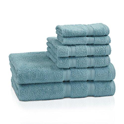 Juego de toallas de calidad superior, 400 g/m², de 6 piezas, sin torsión, color carmesí.