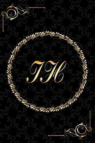 IH: Golden Monogrammed Letters, Executive Personalized Journal With Two Letters Initials, Designer Professional Cover, Perfect Unique Gift